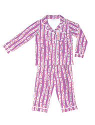 Pink Candy Canes Kids Flannel Classic PJ Sets