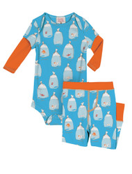 Goldfish Infant Two-Fer Rib Romper and Pant Set