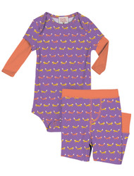 Teeny Foxes Infant Two-Fer Rib Romper and Pant Set