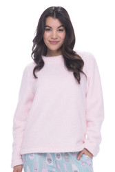 Light Pink Plush Fleece Long Sleeve Pullover