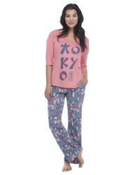 Tokyo Jersey 3/4 Length Sleeve Tee and Pant PJ Set