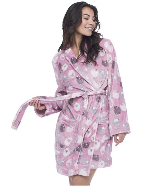 Pink Black Sheep Long Sleeve Robe with Pockets (M01443)