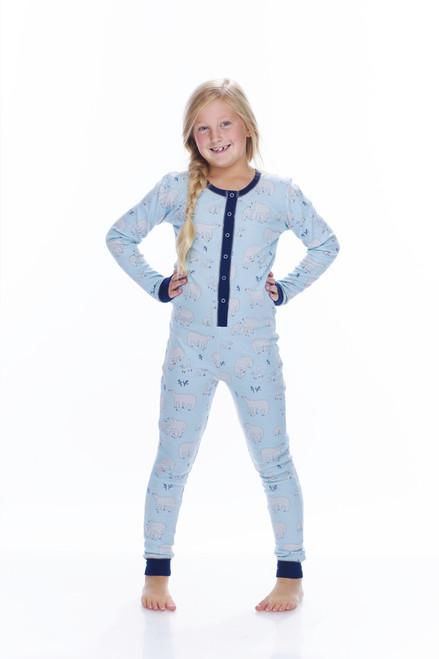 Blue Polar Bears Thermal Kids Unionsuit (MK00988)