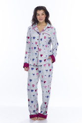 Light Gray Fancy Coffee Flannel Classic PJs (M01692)