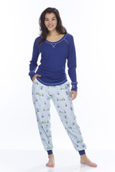 Light Blue Snow Gnomes Top and Flannel Jogger (M01700)