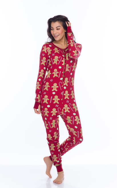 Red Gingerbread Thermal Union Suit (M01722)