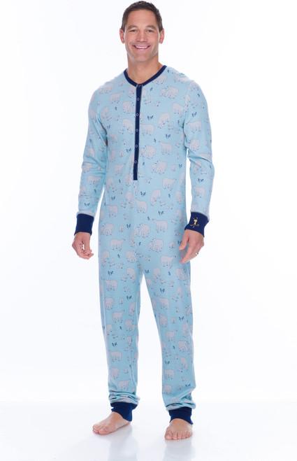 Men's Blue Polar Bears Thermal Long Sleeve Union Suit (M01729)