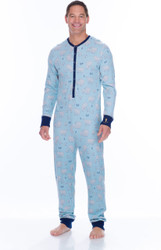 Men's Blue Polar Bears Thermal Long Sleeve Union Suit (M01729)