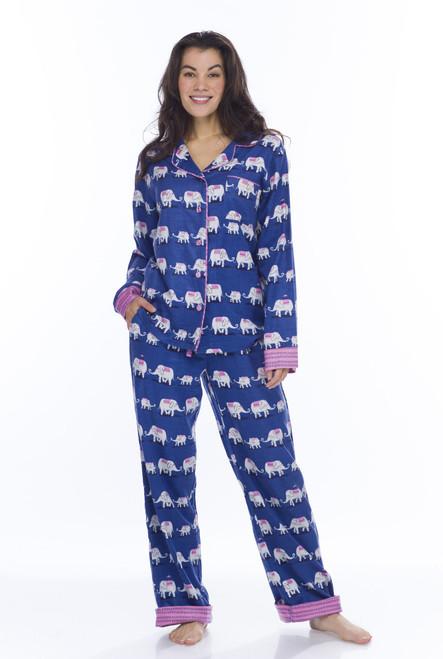 Navy Elephants Flannel Classic PJ (M01731)