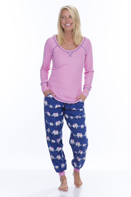 Navy Elephants Top and Flannel Jogger (M01733)