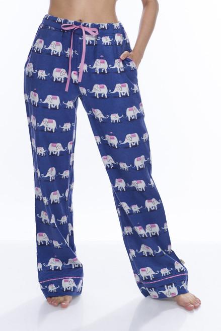 Navy Elephants Flannel Pant (M01737)