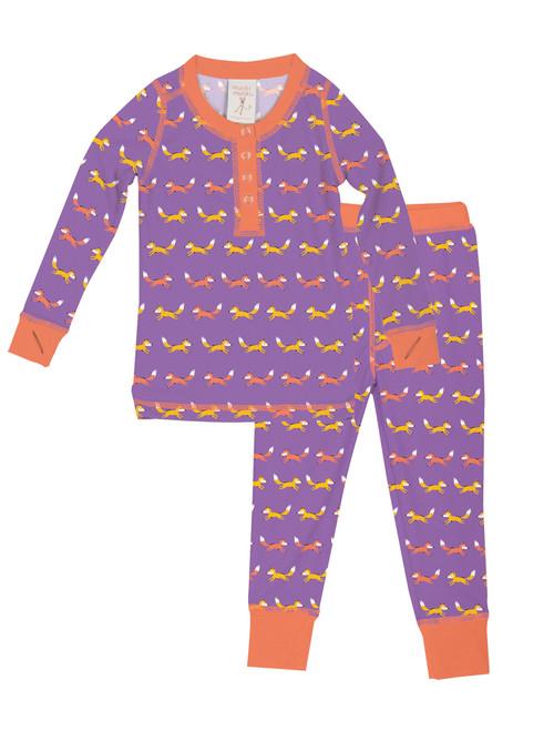 Purple Teeny Foxes Kids Long John Sets