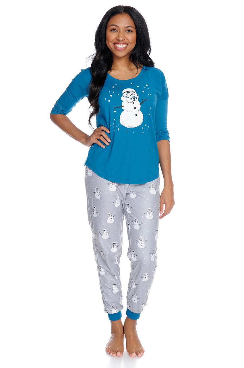 62019b0eb8e6 Stormtrooper Snowman Women s Long Sleeve and Pant PJ Set - Munki Munki