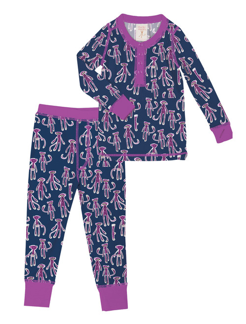 Navy Sock Monkey Kids Long John Set