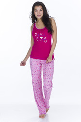 Candy Hearts Women's Rib Tank and Pants PJ Set