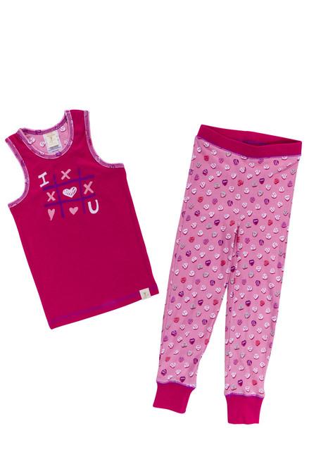 Candy Hearts  Girls Rib Racerback Tank and Legging PJ Set