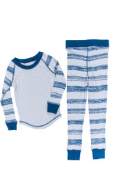 Heather Sketchy Stripe Kids Tight Fitting Rib Raglan Long John PJ Set