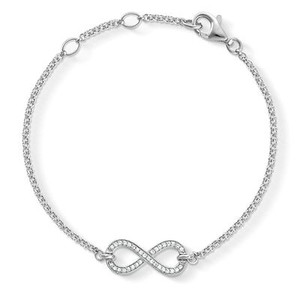 The flowing line of pavé stones in white zirconia in the feminine THE ETERNITY OF LOVE bracelet crafted from 925 Sterling silver creates a filigree infinity symbol which nestles up against its wearer's wrist in a particularly delicate manner.