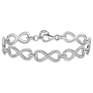 Finely-crafted infinity symbols made from 925 Sterling silver unite to create the elegant THE ETERNITY OF LOVE bracelet whose glittering lines of pavé stones in white zirconia lend the symbol of the eternity of love its radiant sparkle.