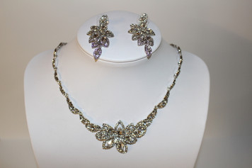 "Silver Clear Crystal Necklace Set (earrings approx. 1 1/2"")"