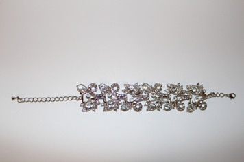"Silver with Clear Leaf Pattern Bracelet (1 1/2"" approx width)"