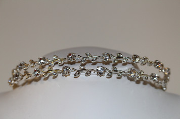 Silver/Clear Double Row Floral Matif Hair Band