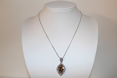 "Silver Necklace Pendant Colored Topaz Stone (1"")"