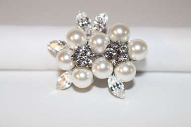 "Silver Brooch with Clear Crystals (1 1/2"" diameter)"