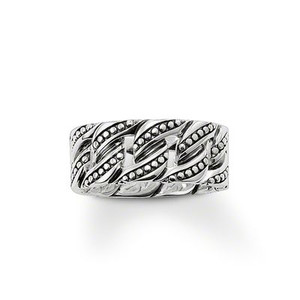 Ring  925 Sterling silver, blackened Width: 1 cm