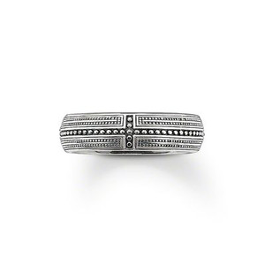 Ring  925 Sterling silver, blackened The rivets, with their cross-shaped layout, guide the eye to the centre of the finger. Width: 0.7 cm
