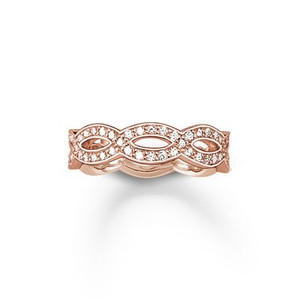 Ring  - 925 Sterling silver; 18K rosé gold plated - white zirconia-pavé Width: 0.5 cm