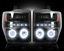 FORD SUPERDUTY 08-10 SMOKED PROJECTOR HEADLIGHTS w CCFL HALOS / DRL