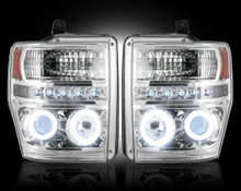 Ford Superduty 08-10 F250/F350/F450/F550 PROJECTOR HEADLIGHTS w/ CCFL HALOS & DRL - Clear / Chrome