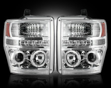 Ford Superduty 08-10 F250/F350/F450/F550 PROJECTOR HEADLIGHTS - Clear / Chrome