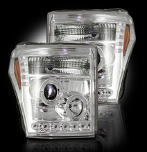 CLEAR Projector Headlights Ford Superduty 11-16 w LED Halos & DRLs
