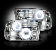 Dodge RAM 10-14 2500/3500 PROJECTOR HEADLIGHTS w/ CCFL HALOS & DRL - Clear / Chrome