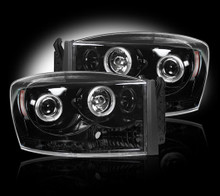 Dodge RAM 06-09 2500/3500 PROJECTOR HEADLIGHTS w/ CCFL HALOS & DRL - Smoked / Black