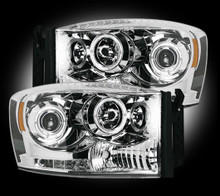 Dodge RAM 06-09 2500/3500 PROJECTOR HEADLIGHTS w/ CCFL HALOS & DRL - Clear / Chrome