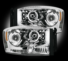 Dodge Ram 06-09 2500/3500 PROJECTOR HEADLIGHTS - Clear / Chrome