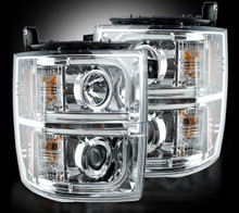 Chevrolet Silverado 2500/3500 Heavy Duty 14-15 (3rd GEN) PROJECTOR HEADLIGHTS  - Clear / Chrome