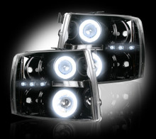 Chevrolet Silverado 07-14 2500/3500 PROJECTOR HEADLIGHTS w/ CCFL HALOS & DRL - Smoked / Black