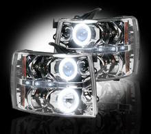 Chevrolet Silverado 07-13 2500/3500 PROJECTOR HEADLIGHTS w/ CCFL HALOS & DRL - Clear / Chrome