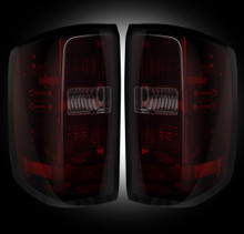 Chevy Silverado 14-16 2500/3500  LED TAIL LIGHTS - Dark Red Smoked Lens