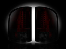 GMC Sierra 07-13 (2nd GEN SINGLE WHEEL ONLY) LED TAIL LIGHTS - Dark Red Smoked Lens