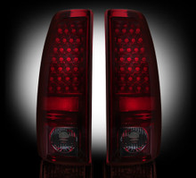 "Chevy Silverado & GMC Sierra 99-07 (Fits 2007 ""Classic"" Body Style Only) LED TAIL LIGHTS - Dark Red Smoked Lens"