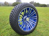 205/40R14 Innova Driver mounted on golf car wheel 14x6 AR128 -25mm offset 4 holes blue/silver