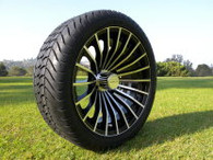 """15"""" INNOVA DRIVER GOLF CAR TIRE 205/35R15 AND WHEEL AR578 TURBO ASSEMBLY -25MM OFFSET 4 HOLES MACHINED BLACK"""