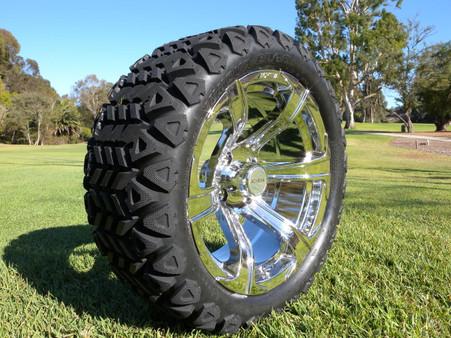 Radial 23x10.5R15 Innova Edge lifted golf car tire mounted on AR688 chrome wheel.