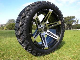 Radial 23x10.5R15 Innova Edge lifted golf car tire mounted on AR618 machined black wheel