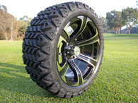 Radial 23x10.5R15 Innova Edge lifted golf car tire mounted on AR688 machined black wheel